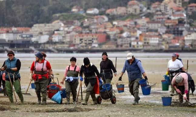 Las mariscadoras se plantan y no siguen trabajando para evitar riesgos y ante la caída de las ventas