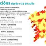60 concellos de Galicia en restricciones máximas y altas